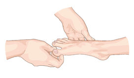 Examination of the foot. Illustration on white background Stock Image