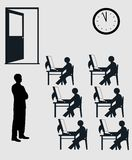 Examination hall. Silhoutte of an online examination Royalty Free Illustration