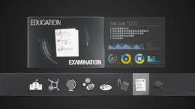 Examination icon for Education contents.Digital display application. Education icon set animation stock video footage