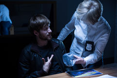 Examination in interrogation room Royalty Free Stock Photo