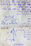 Examination in mathematics. Old page from examination in mathematics Stock Photography