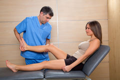 Examination and mobilization of knee joint doctor to woman Stock Photography