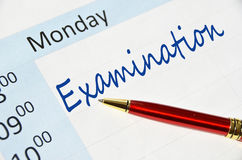 Examination note. In the agenda Stock Images