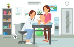 Examination by Pediatrician. Vector Illustration. vector illustration