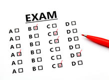 Examination sheet Royalty Free Stock Photo