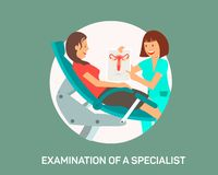 Examination of Specialist Flat Banner Template stock illustration
