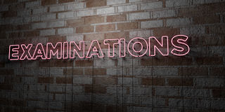 EXAMINATIONS - Glowing Neon Sign on stonework wall - 3D rendered royalty free stock illustration Stock Images