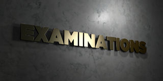 Examinations - Gold text on black background - 3D rendered royalty free stock picture Stock Image