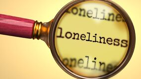Free Examine And Study Loneliness, Showed As A Magnify Glass And Word Loneliness To Symbolize Process Of Analyzing, Exploring, Learning Royalty Free Stock Photos - 199337938