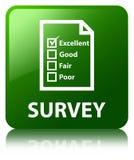 Examine (el botón cuadrado del verde del icono del cuestionario) stock de ilustración