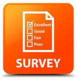 Examine (icono del cuestionario) el botón cuadrado anaranjado stock de ilustración