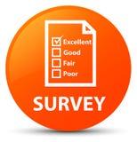 Examine (icono del cuestionario) el botón redondo anaranjado stock de ilustración