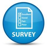 Examine (icono del cuestionario) el botón redondo azul ciánico especial stock de ilustración