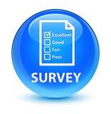 Examine (icono del cuestionario) el botón redondo azul ciánico vidrioso ilustración del vector