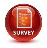 Examine (icono del cuestionario) el botón redondo marrón vidrioso stock de ilustración