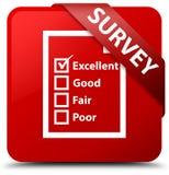 Examine (icono del cuestionario) la cinta roja del botón del cuadrado rojo en maíz ilustración del vector