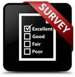 Examine (icono del cuestionario) la cinta roja del botón de la casilla negra en el co stock de ilustración