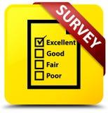 Examine (la cinta roja del botón cuadrado del amarillo del icono del cuestionario) en c libre illustration