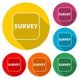 Examine la muestra, icono del tráfico de la encuesta, icono del color con la sombra larga libre illustration