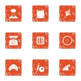 Examine os ícones ajustados, estilo do grunge ilustração royalty free