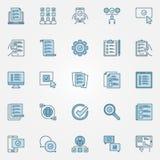 Examine os ícones coloridos ajustados - vector sinais do conceito da lista de verificação ilustração do vetor