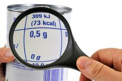 Examine uma lata pode etiquetar com uma lupa imagens de stock royalty free