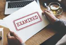 Examined Authorised Certified Verified Approve Concept. Senior Adult Verified Certified Concept Royalty Free Stock Photography
