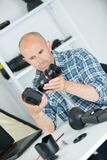Examined in detail electronic shutter digital camera Royalty Free Stock Photos