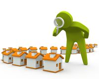 Examiner des maisons Photos libres de droits