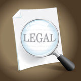Examing a Legal Document. Taking a closer look at a legal document stock illustration