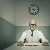 Examining applicants. Senior boss examining applicants during job interview Royalty Free Stock Photos