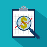 Examining economic statistic. Financial examiner. Vector illustr Stock Image