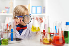 Examining fuming acid Stock Photos