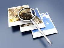 Examining Instant Photos Stock Photography