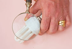 Examining low energy light bulb. Stock Photography