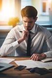 Examining new contracts. Royalty Free Stock Photo