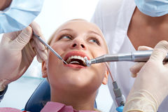 Examining oral cavity Stock Photo