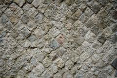 Example of ancient Roman Opus Reticulatum wall. Landscape format stock photography