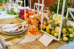 An example of a decorated wedding table 6. An example of a beautiful decorated wedding table Stock Image