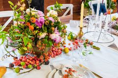 An example of a decorated wedding table 3. An example of a beautiful decorated wedding table Royalty Free Stock Photo