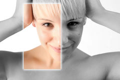 Example of beauty photo manipulation. In digital software Stock Images