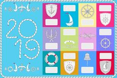 An example of a calendar with sailor symbols. New Year banner 2019. stock illustration