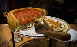 A Famous Chicago Deep Dish Pizza royalty free stock images