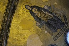 Example of Christian art in Hagia Sophia Museum in Istanbul. ISTANBUL, TURKEY - MAY 26 : Interior view of the Hagia Sophia Museum in Istanbul Turkey on May 26 Royalty Free Stock Image