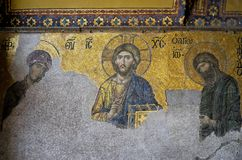 Example of Christian art in Hagia Sophia Museum in Istanbul. ISTANBUL, TURKEY - MAY 26 : Example of Christian art in Hagia Sophia Museum in Istanbul Turkey on Stock Images