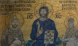 Example of Christian art in Hagia Sophia Museum in Istanbul. ISTANBUL, TURKEY - MAY 26 : Example of Christian art in Hagia Sophia Museum in Istanbul Turkey on Stock Photography