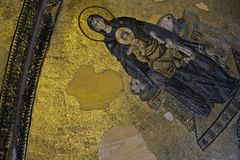 Example of Christian art in Hagia Sophia Museum in Istanbul. ISTANBUL, TURKEY - MAY 26 : Example of Christian art in Hagia Sophia Museum in Istanbul Turkey on Stock Image