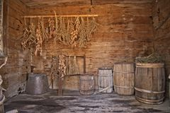 Example of The Colonial Period Food Storage. This is the typical method of food storage in the Antebellum Southern United States between 1785 until 1865 Royalty Free Stock Photo