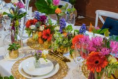 An example of a decorated wedding table 4. An example of a beautiful and colorful decorated wedding table Royalty Free Stock Photography