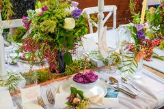 An example of a decorated wedding table 2. An example of a beautiful decorated wedding table Stock Photos